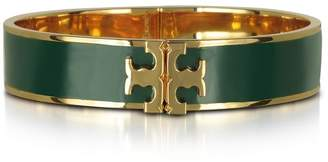 Tory Burch Raised Logo Banyan Green Enamel Thin Cuff Bracelet