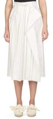 Cédric Charlier Striped High-Waisted Midi Skirt