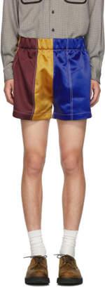 Daniel W. Fletcher Burgundy and Navy Satin Boxing Shorts