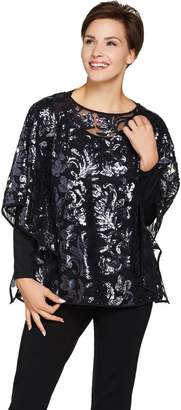 Bob Mackie Bob Mackie's Sequin Floral Caftan and Long Sleeve Knit Top Set