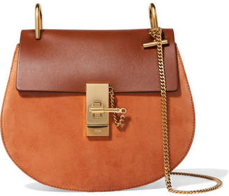 Chloé Drew Small Leather And Suede Shoulder Bag - Tan