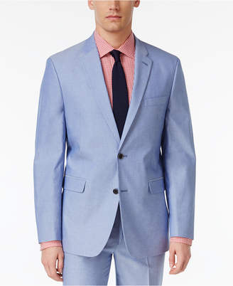 Tommy Hilfiger Men's Slim-Fit Stretch Performance Blue Chambray Solid Suit Jacket $225 thestylecure.com