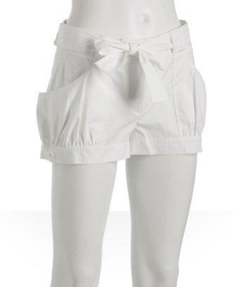 Susana Monaco white cotton gathered belted shorts