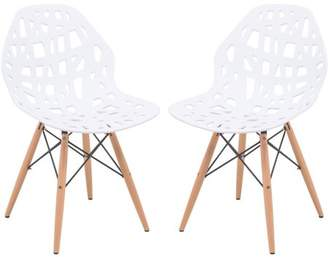 Mid-Century MODERN LeisureMod Akron Dining Side Chair With Wood Dowel Legs in White Set of 2