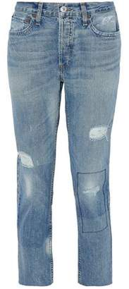 Levi's Re/Done By Distressed Mid-Rise Straight-Leg Jeans