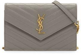 Saint Laurent Monogram Matelassé Small Envelope Wallet-on-Chain $1,275 thestylecure.com