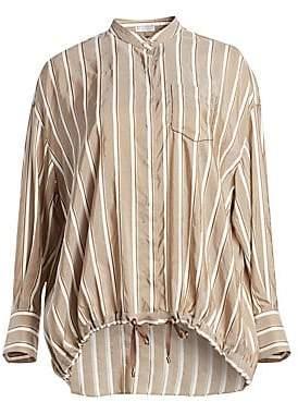 aa4823f3d86ecb Brunello Cucinelli Women s Striped Silk Button-Down Blouse
