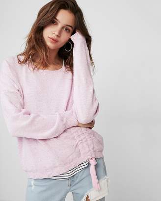 Express Marled Asymmetrical Ruched Pullover Sweater