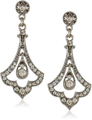"Michael Kors Downton Abbey ""Stardust Boxed"" Silver Tone Edwardian Pave Crystal Accent Drop Earrings"