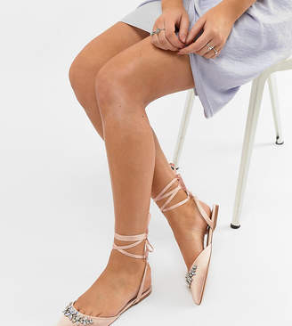 Asos DESIGN Veil Wide Fit Bridal Ballet Flats