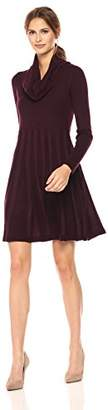 Calvin Klein Women's Long-Sleeve Cowl-Neck Fit & Flare Sweater Dress