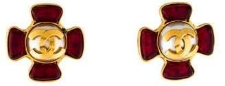 Chanel Faux Pearl & Gripoix CC Clip-On Earrings