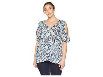Fresh Produce Extra Fresh by Plus Size Palm Leaves Crossover Escape Top