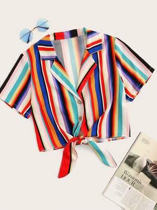 Shein Rainbow Stripe Button & Tie Front Blouse