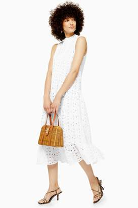 Topshop Womens Broderie Midi Smock Dress - White