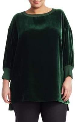 Lafayette 148 New York Lafayette 148 New York, Plus Size Joplin Velvet& Rib-Knit Tunic