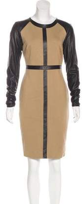 Robert Rodriguez Leather-Trimmed Knee-Length Dress