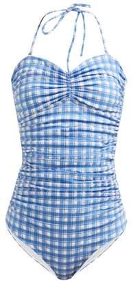 Ganni Jewett Gingham Swimsuit - Womens - Blue Print