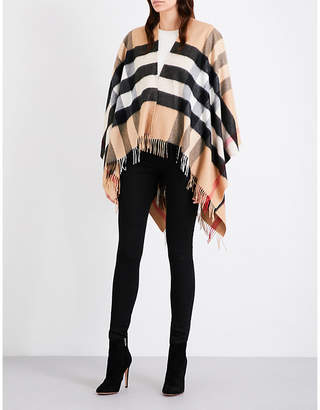 Burberry Ladies Camel Checked Lightweight Merino Wool-Cashmere Blend Poncho