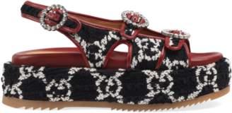 Gucci GG tweed platform sandal