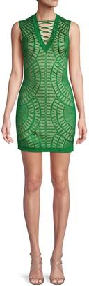 Balmain Lace-Up Placket Metallic Mini Dress