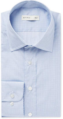 Etro Blue Slim-Fit Puppytooth Cotton-Poplin Shirt - Blue