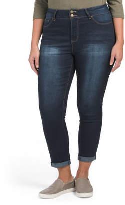Plus High Waist Roll Cuff Skinny Jeans