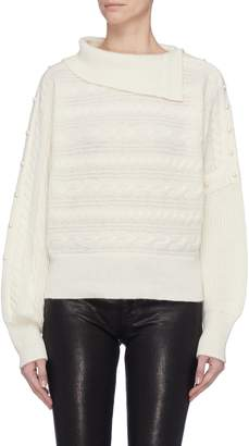 Philosophy di Lorenzo Serafini Foldover collar faux pearl embellished sleeve sweater