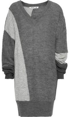 McQ Color-block Ribbed-knit Mini Dress