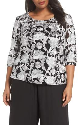 Alex Evenings Floral Embroidered Blouse