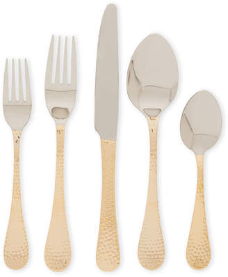Museum Collection 20-Piece Gold-Tone Hammered Flatware Set