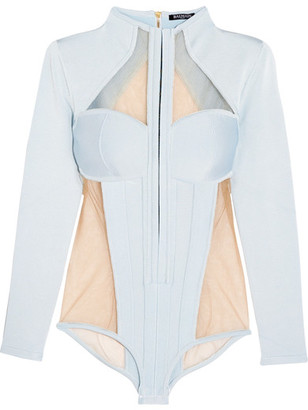 Balmain - Paneled Jersey And Stretch-tulle Bodysuit - Sky blue $3,900 thestylecure.com