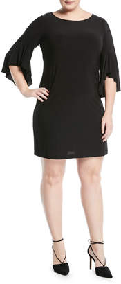 Neiman Marcus Bell-Sleeve Shift Dress, Plus Size