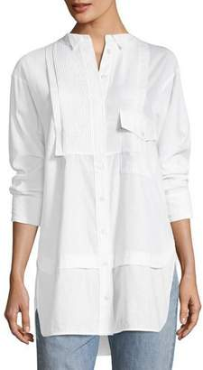Burberry Magpie Linen/Cotton Pintucked Shirt