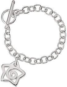 "Italian Silver 7"" Star Charm Bracelet, 9.6g"