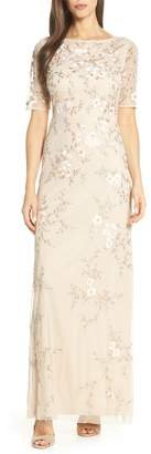 Adrianna Papell Embroidered Mesh Evening Dress