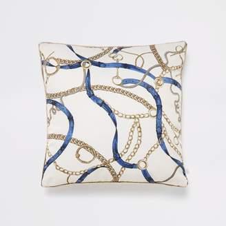 River Island Cream chain and belt print cushion