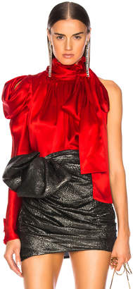 Redemption for FWRD One Shoulder Top in Red Satin | FWRD