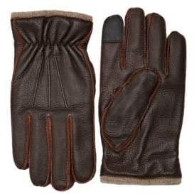 Saks Fifth Avenue Textured Touch Tech Leather Gloves