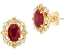 Lord & Taylor Diamond, Ruby and 14K Yellow Gold Stud Earrings