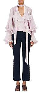 Chloé WOMEN'S FLORAL-PRINT CHIFFON TIERED-SLEEVE BLOUSE - ROSE/WHITE SIZE 42 FR