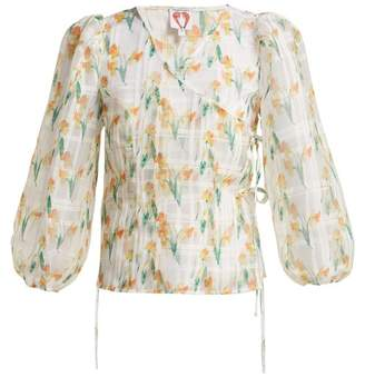 Shrimps Daffodil Print Organza Wrap Top - Womens - White Multi
