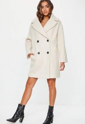 Missguided Cream Oversized Boucle Coat