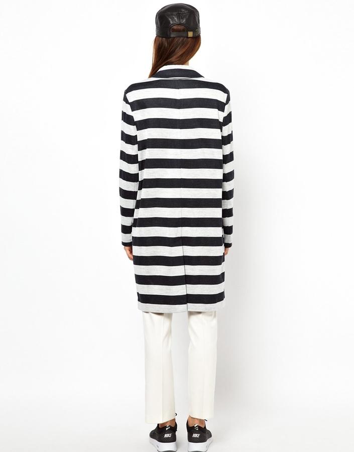 Asos Coat in Light Weight Stripe