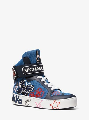 MICHAEL Michael Kors Trent Embroidered Denim High-Top Sneaker