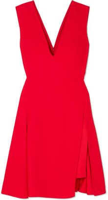 Versace Pleated Cady And Satin Mini Dress - Red