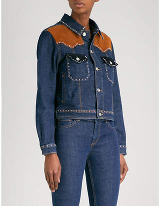 Claudie Pierlot Suede-trimmed stretch-denim jacket
