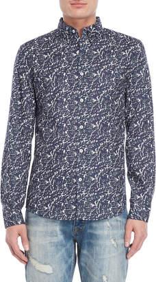 Desigual Navy Printed Slim Sport Shirt