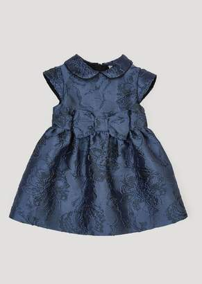 Emporio Armani Full Circle Dress In Damask Fabric With Small Collar And Bow