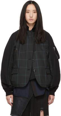 Sacai (サカイ) - Sacai ブラック & グリーン グレン チェック パネル ジャケット